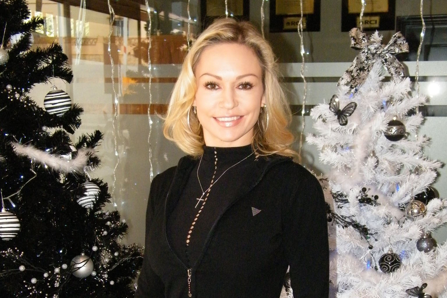 Kristina adding her own special glamour to seasonal decorations at Club La Costa World