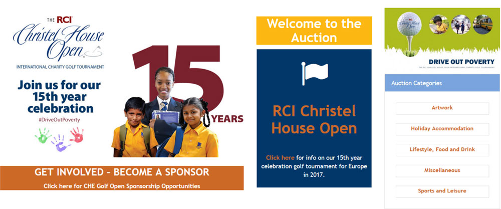 New Online Auction Site in support of RCI Christel House Golf Open 2017